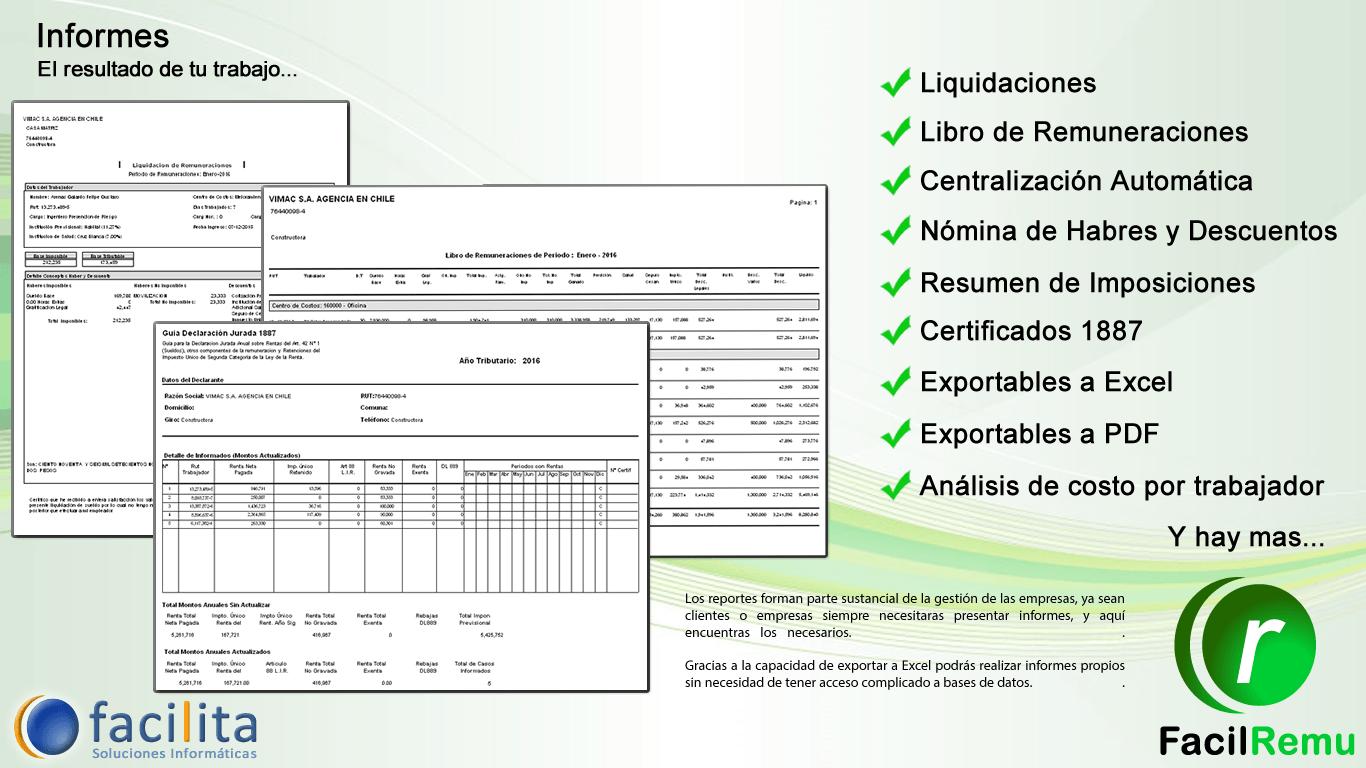 Muchos Informes del Software de Remuneraciones