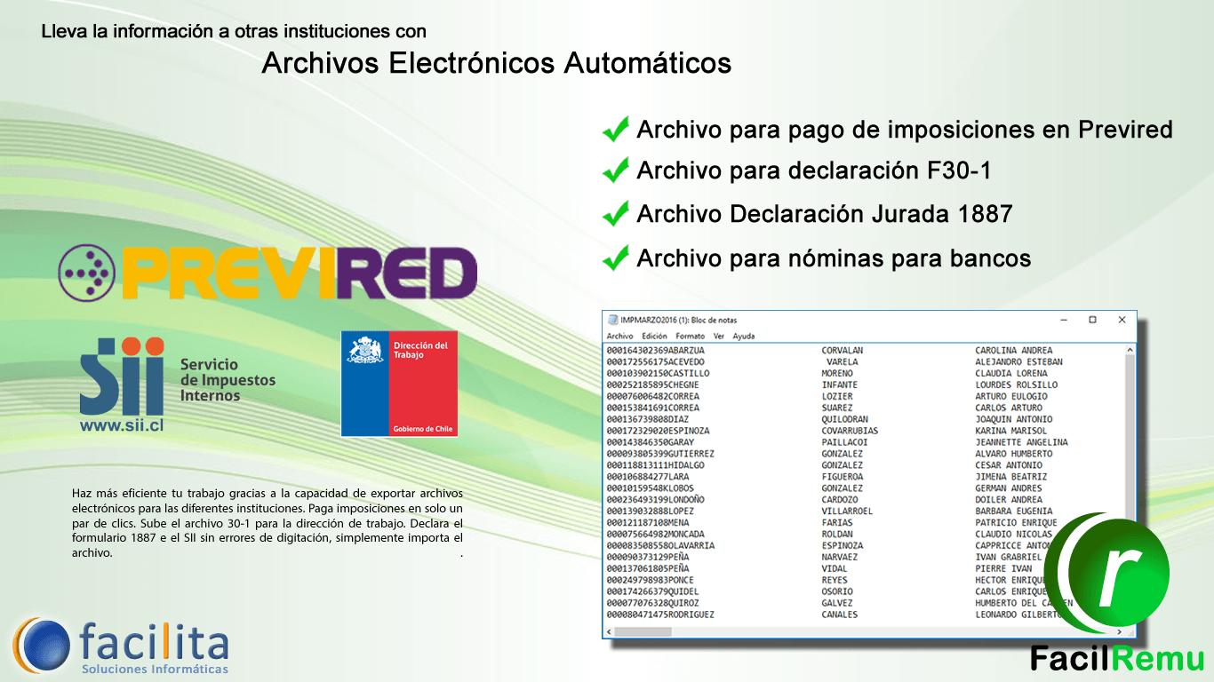 Archivos que genera el software de remuneraciones
